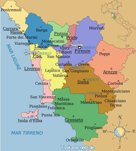 Map of Tuscany Tuscany provinces cities and towns